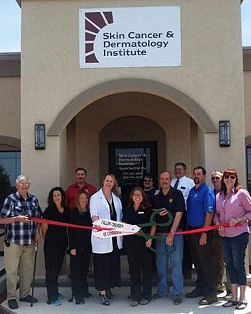 Fallon Chamber of Commerce, along with the local community and staff of Skin Cancer & Dermatology Institute, celebrate the grand opening of the Fallon office in April 2017.
