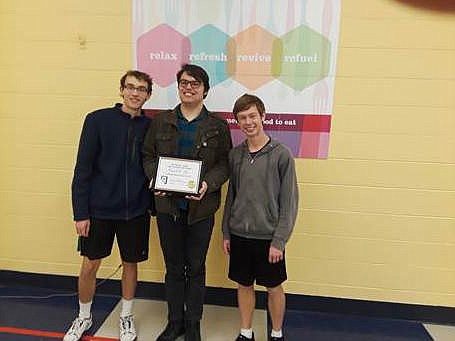 In the Team round Algebra 1/Geometry team took first place: Johnny Miller, Zachary Stewart, Johnathan Hernandez, Ben Jamieson.