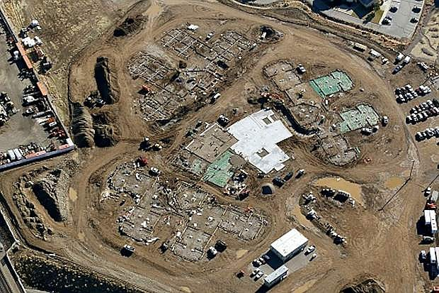 This aerial view shows the progress being made on the new Northern Nevada Veterans Home in Sparks.