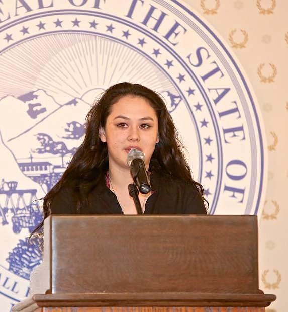 2018 Boys & Girls Clubs Youth of the Year Mia Liao presents her speech Thursday night at the Governor's Mansion.