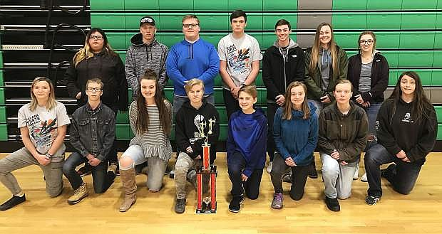 Archery students who competed in the state title include, standing, from left, Jessica Bolling, Cody Sponsler, Ben Bake, Josh Evans, Broder Thurston, Faith Cornmesser and Shelbi Schultz. Kneeling, from left, are Victoria Martin, Joseph Harmony, Sawyer Gregersen, Joie Gibbons, Will Swisher, Emily Rozzell, Darby Cecil and Willow Peterson.