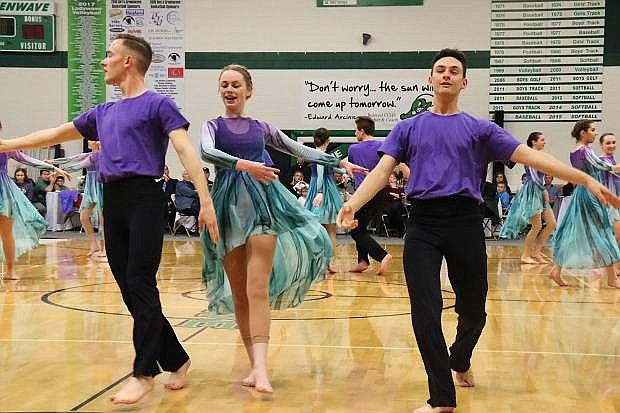 """Fallon City Ballet ends the night's intermission with a performance to The Greatest Showman's """"A Million Dreams"""" during Fallon's 11th Annual Dancing With The Stars March 17."""