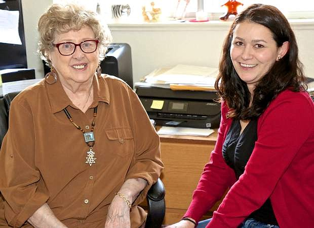 Florence Phillips and her volunteer administrative assistant Anna Torres pose for a photo Thursday in Carson City.