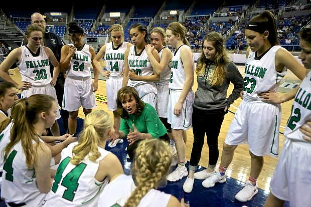 Head Coach Anne Smith rallies her squad towards the end of the game Saturday in Reno.