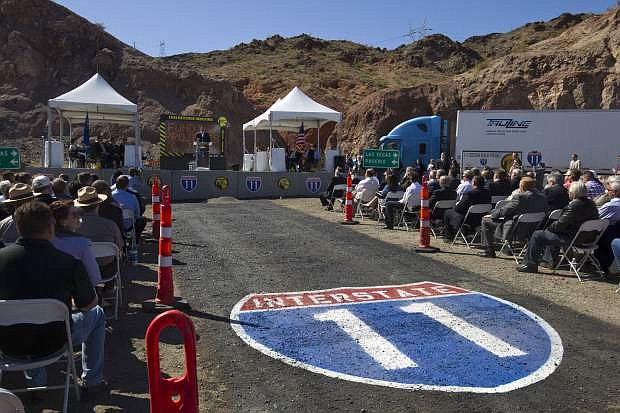 Gov. Brian Sandoval speaks during a groundbreaking ceremony for the Interstate 11/Boulder City Bypass project near Boulder City on April 6, 2015.