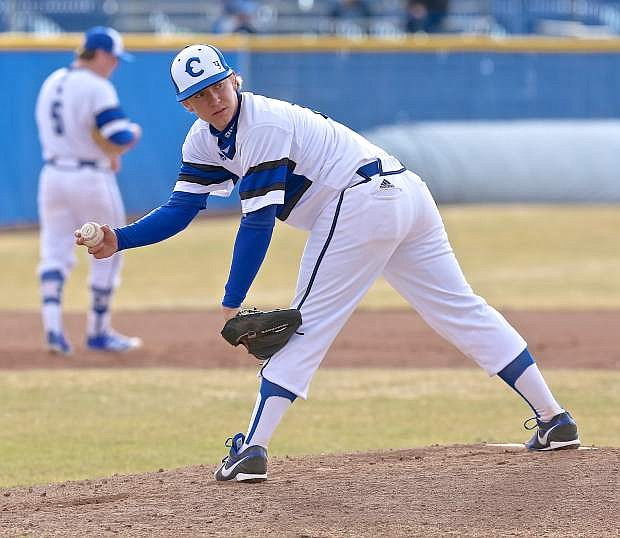 Pitcher Jared Barnard looks back a Central Catholic base runner Friday at Ron McNutt field.