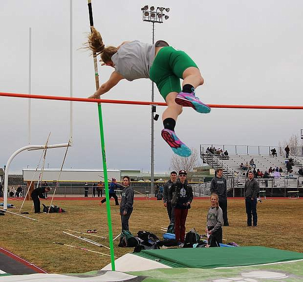 Fallon's Ali Lister pole vaults in Saturday's conference meet.