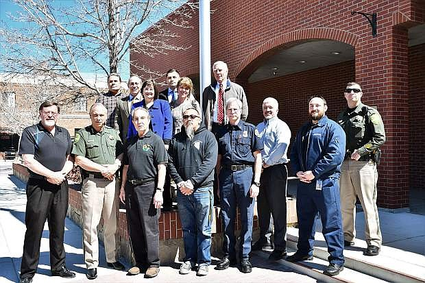 On Thursday, City Manager Nick Marano and Mayor Bob Crowell invited all veterans who work for the city to be honored. Bottom from left: Scott Royal, Ken Furlong, Bob Crowell, Patrick Calvan, Dave Ruben, Dave Dawley, Nicholas Artam, Jason Bueno. Top from left: Ken Shannon, Nick Marano, Lori Bagwell, Karen Abowd, Jesse Gutierrez, James T. Russell.