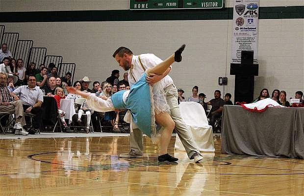 Star Bart Hyde and student Jordan Medrano dance during last year's Dancing With the Stars Event.