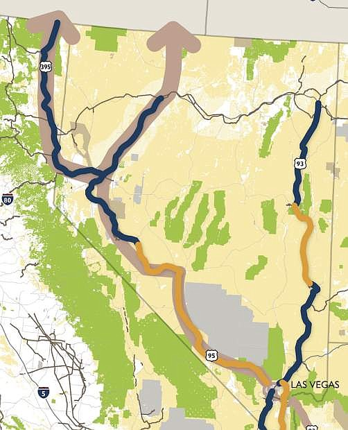 A map of the potential Interstate 11 route through Nevada.
