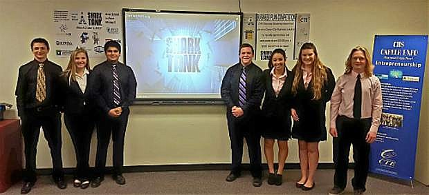 Career and Technical Education Shark Tank 2017 participants. The 2018 Shark Tank is today and Friday at Carson High School.
