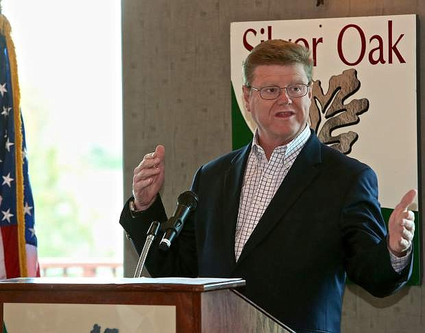 Congressman Mark Amodei speaks to the Carson City Chamber meeting Thursday morning at Silver Oak Golf Course.