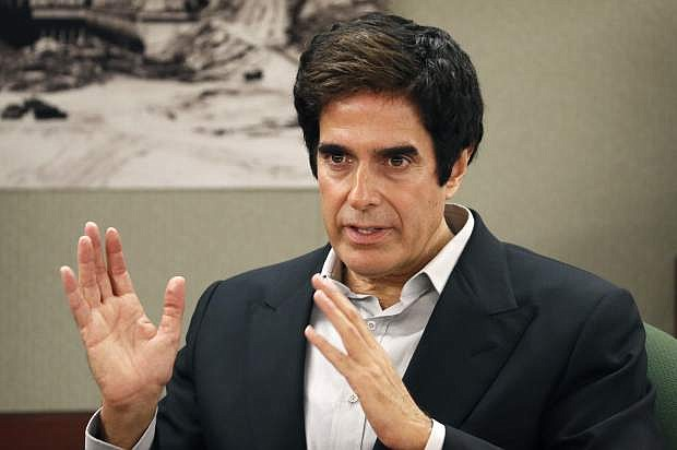 Illusionist David Copperfield appears in court Tuesday in Las Vegas. Copperfield testified in a negligence lawsuit involving a British man who claims he was badly hurt when he fell while participating in a 2013 Las Vegas show.