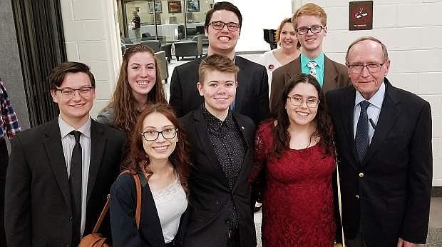 Left to right back row: Owen Lattin, Abbey Pyke, John Solomon, Jr., Brady Blundell and Senator Richard Bryan. Front row: Indica Simpson, Shaye McMillen and Hanna Stewart.