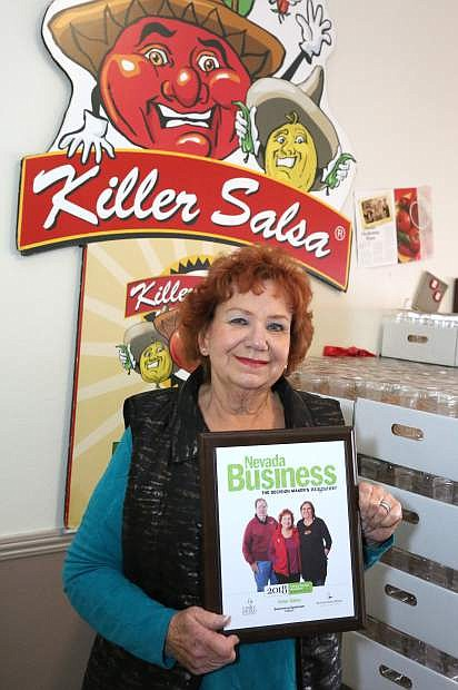 Killer Salsa owner Fran Pritchard displays her Family Business Award she received from Nevada Business Magazine recently.