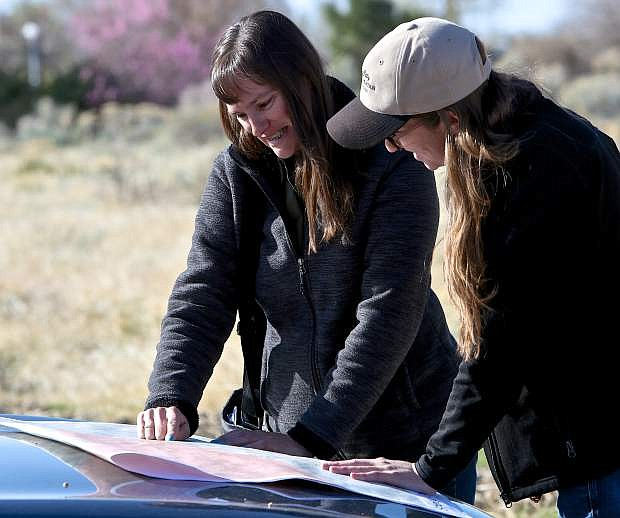 Open Space Administrator Anne Bolinger and Senior Natural Resource Administrator Lyndsey Boyer look over a map where the sheep are grazing Friday morning.