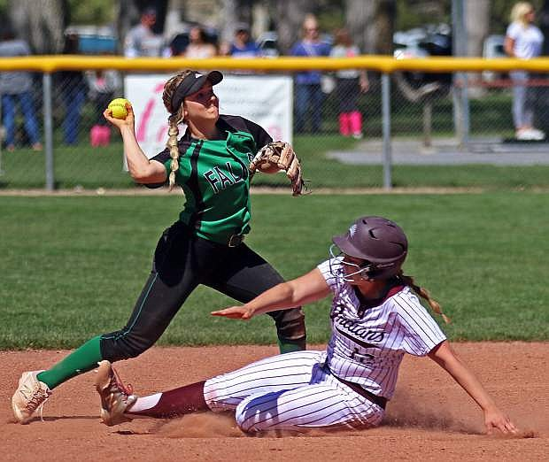 Fallon senior Stacey Kalt turns to fire to first in Fallon's win over Elko on Saturday.