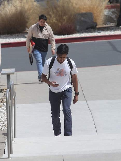 Western Nevada College students head to class on Tuesday.