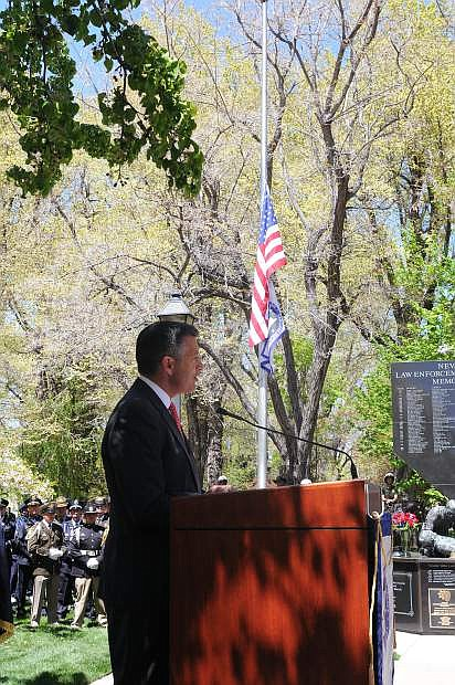 Governor Brian Sandoval speaks during Thursday's ceremony.