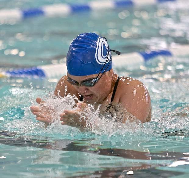 Senator Juliet Kahue swims in a heat of the 200 individual medley Friday during the NIAA Northern Regionals at the Carson Aquatics Center.