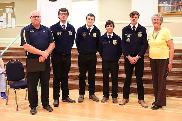 Churchill County High School Future Farmers of American Agricultural Mechanics Team placed first, from left: Advisor Ted Ott and seniors Sterling Lee, Craig Clark, Luis Orozco, Conner McGown, and Truste Carmen Schank.