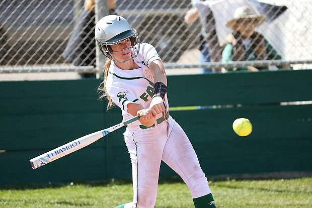 Fallon's Caitlyn Welch hits a solo home run against Lowry on Friday.