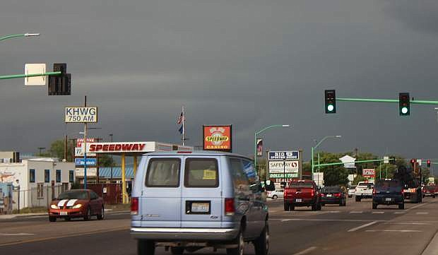 Ominous skies hovered over Fallon this week with scattered thunderstorms and lightning.