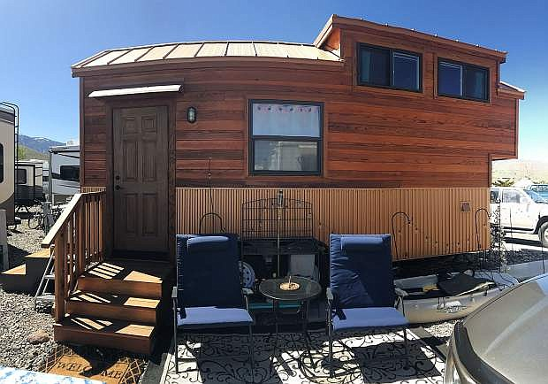 Killeen's tiny house is made like any other house, with real materials such as hardwood, corrugated metal, and cork flooring. It just happens to roll.