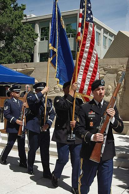 A Nevada National Guard joint color guard presents the colors during the 18th annual Flag Day ceremony at the Nevada Capitol in 2016.