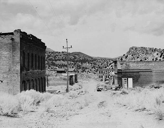 View of the remains of the mining town of Aurora in 1934, before nearly all of its buildings were sold off and salvaged. Today, only a handful of foundations and other ruins remain.