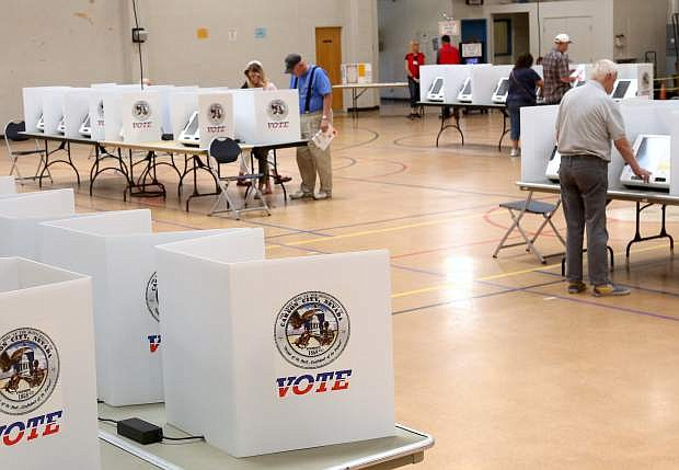 Carson City residents cast their ballots om Tuesday during the primary election,