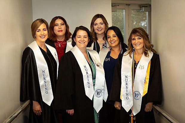 New nursing graduates from Western Nevada College are, back row, from left, Marjorie von Nordeck and Heather Weatherford . Front row from left are Rayanne Sorensen, Shawna Craig, Precious Achuff and Desiree Reeves.