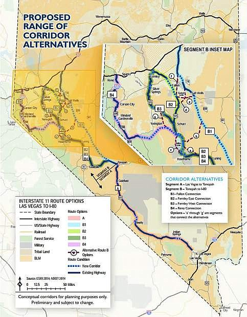 The Nevada Department of Transportation will host public information meetings in July and August to provide updates on corridor selection for the future Interstate 11 connecting the Las Vegas valley and northwestern Nevada.