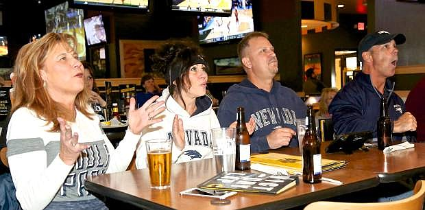 Nevada fans watch the Wolf Pack during last season's NCAA Tournament.