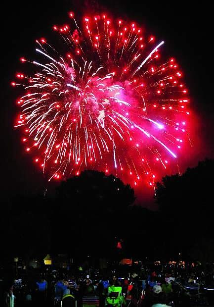 Fireworks light up the sky over Mills Park on Monday night.