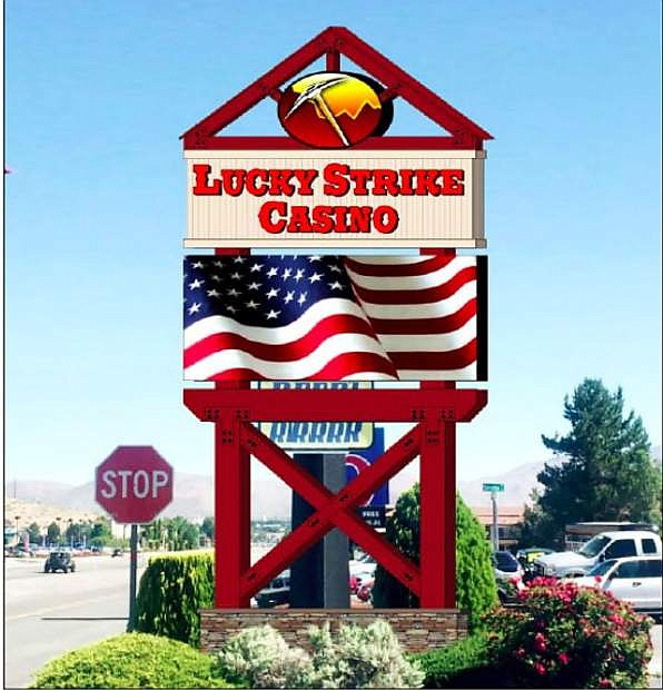 A rendering of the proposed Lucky Strike Casino 30-foot, freestanding electronic message sign, which needs a permit to exceed the 20 feet allowed by Carson City municipal code.