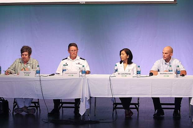 A community panel included, from left, CCSD Superintendent Dr. Summer Stephens, Brig. Gen. Michael Hanifan, Dr. Lana Narag and Sheriff Ben Trotter.