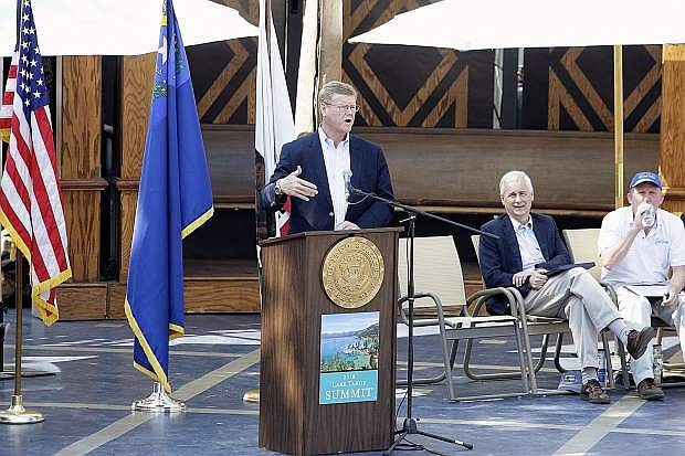 U.S. Rep. Mark Amodei gives his remarks during the 2018 Lake Tahoe Summit at Sand Harbor on Tuesday, Aug. 7.