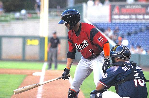 Gregor Blanco of the Sacramento River Cats prepares to bat Monday night against Reno.