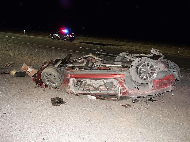 The Chevy Camaro involved in Tuesday's fatal crash.