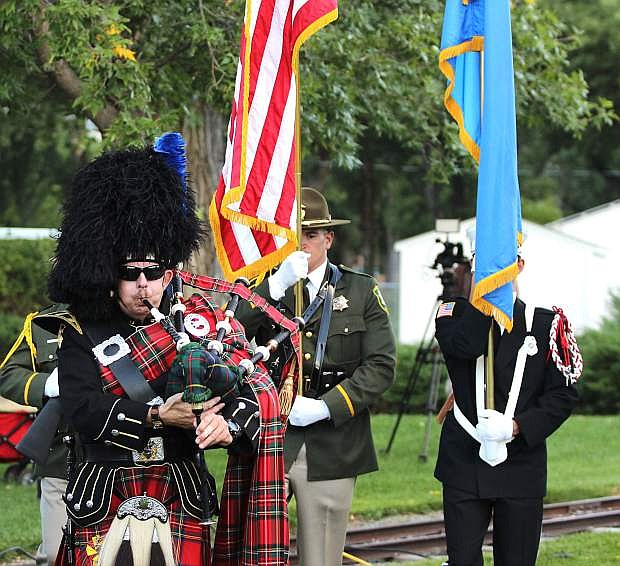Bagpiper Robert Bledsaw leads a combined honor guard of both the Carson City Sheriff and Fire departments.