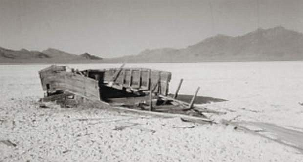 The ruins of a boat once built to ply the waters of Winnemucca Lake as a floating speakeasy during the Prohibition days. Photo taken by Dennis Cassinelli circa 1959.