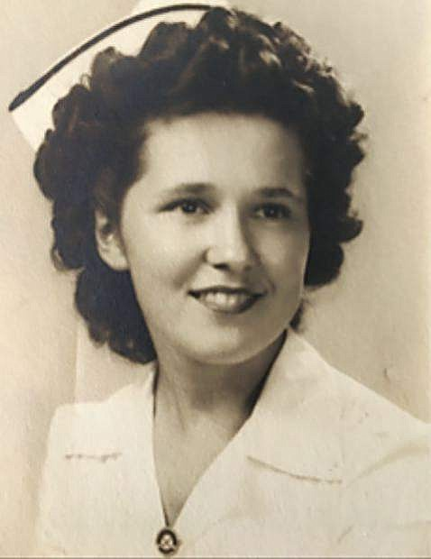 Rachael Marguerite Bourgeois' Fanny Allen Hospital School of Nursing School 1945 graduation picture. Fanny Allen Hospital is the only hospital in Burlington, Vermont; The Green Mountain State.