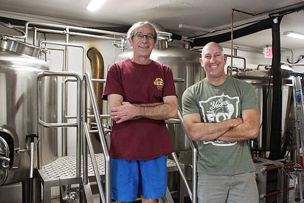 Inside the Fox Brewpub brewery with Tim Mason, new brew master, and Jim Phalan, owner. The Fox currently brews nine of their own beers onsite with plans to expand to 12 soon.