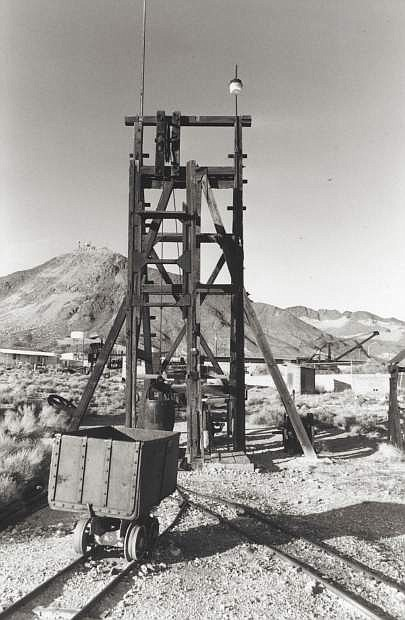 The old mining headframe that is one of the many outdoor exhibits found at the Central Nevada Museum in Tonopah.