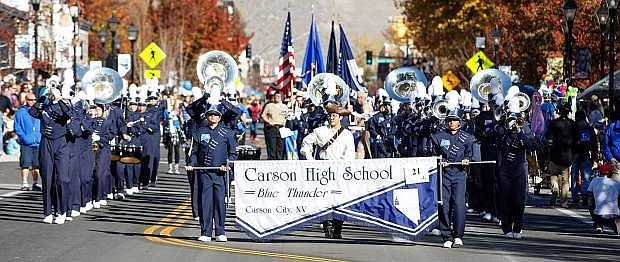 The Carson High School Blue Thunder Marching band performs during the 2017 Nevada Day Parade, Carson City, NV