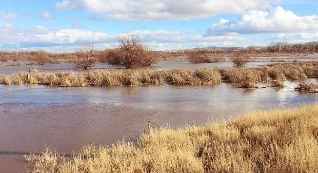 Water from the Carson River floods the desert that is sandwiched between Silver Springs' houses and Lahontan Reservoir in 2017.
