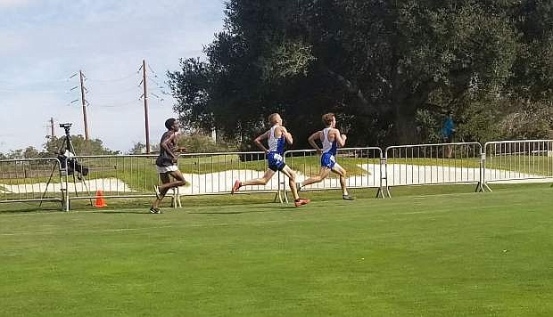 Zach Sever, left, and Hunter Rauh on their way to finishing at Stanford on Saturday.