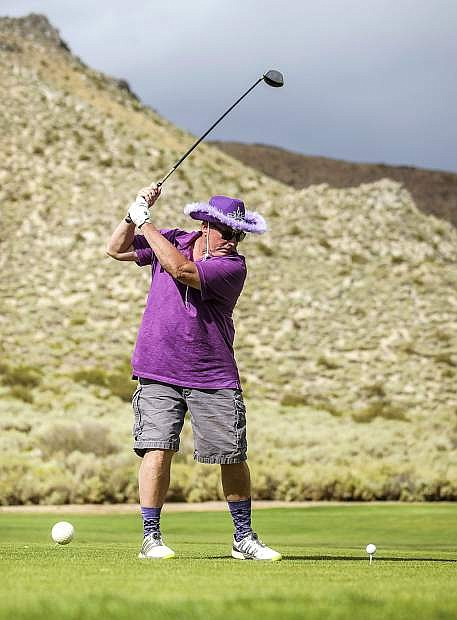 Mike Riggs competes in the 5th annual Carson City Kiwanis Pancreatic Cancer Awareness Day, at Silver Oak Golf Course on Saturday, Sept. 15, 2018.