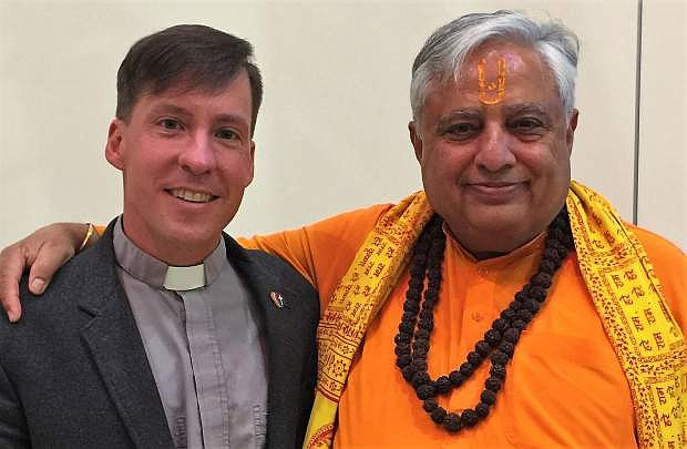 Hindu statesman Rajan Zed (right) with St. Paul's Lutheran Church Pastor Chad Adamik.